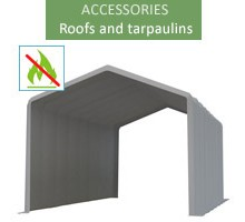 Roof tarpaulin 6x12m, wiking, gray, 4.6m entry, fireproof