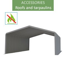 Roof tarpaulin 8x12m, wiking, gray, 3.5m entry, fireproof