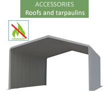 Roof tarpaulin 8x12m, wiking, gray, 4.6m entry, fireproof