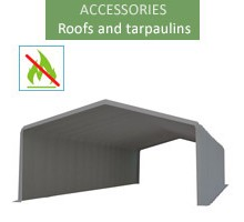 Roof tarpaulin 8x20m, wiking, gray, 3.5m entry, fireproof