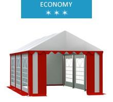 Namiot imprezowy 3x6m, PCV biało-czerwony, economy