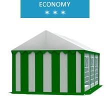 Namiot imprezowy 3x6m, PCV biało-zielony, economy