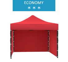 Express tent 3x3m + 3 walls, red, economy