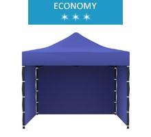 Namiot ekspresowy 3x3m + 3 ścianki, niebieski, economy