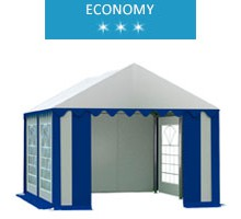 Namiot imprezowy 3x4m, PCV biało-niebieski, economy
