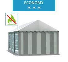 Namiot imprezowy 4x6m, PCV biało-szary, economy, trudnopalny