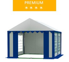 Namiot imprezowy 3x4m, PCV biało-niebieski, premium