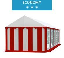 Namiot imprezowy 4x10m, PCV biało-czerwony, economy