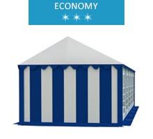 Namiot imprezowy 4x10m, PCV biało-niebieski, economy