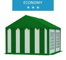 Namiot imprezowy 4x4m, PCV biało-zielony z dachem zielonym, economy