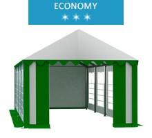 Namiot imprezowy 4x8m, PCV biało-zielony, economy