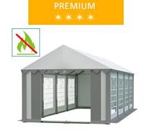 Namiot imprezowy 4x8m, PCV biało-szary, premium, trudnopalny