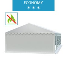 Party tent 5x10 m, white PVC, economy, fireproof