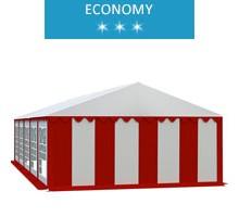 Namiot imprezowy 5x10m, PCV biało-czerwony, economy
