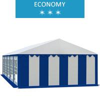 Namiot imprezowy 5x10m, PCV biało-niebieski, economy