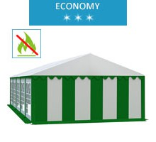 Party tent 5x10 m, white-green PVC, economy, fireproof