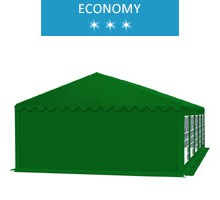 Party tent 5x10 m, green PVC, economy, fireproof