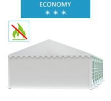Party tent 5x12 m, white PVC, economy, fireproof