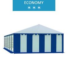 Party tent 5x12 m, white-blue PVC, economy