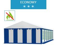 Party tent 6x12 m, white-blue PVC, economy, fireproof