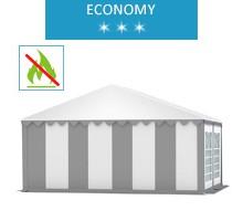 Namiot imprezowy 5x4m, PCV biało-szary, economy, trudnopalny
