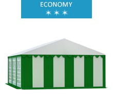 Namiot imprezowy 5x6m, PCV biało-zielony, economy