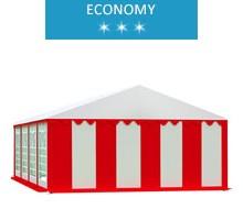 Namiot imprezowy 5x8m, PCV biało-czerwony, economy