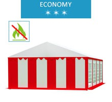 Party tent 5x8 m, white-red PVC, economy, fireproof