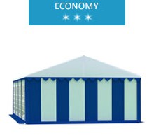 Namiot imprezowy 5x8m, PCV biało-niebieski, economy