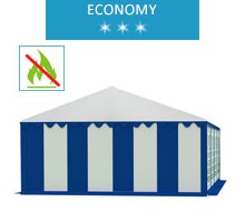 Party tent 5x8 m, white-blue PVC, economy, fireproof