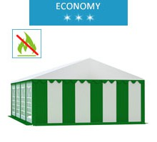 Party tent 5x8 m, white-green PVC, economy, fireproof
