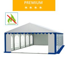 Namiot imprezowy 5x10m, PCV biało-niebieski, premium, trudnopalny