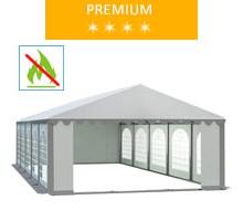 Namiot imprezowy 5x10m, PCV biało-szary, premium, trudnopalny