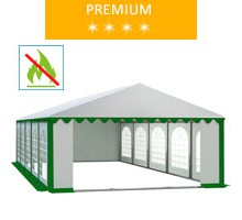 Party tent 5x10 m, white-green PVC, premium, fireproof