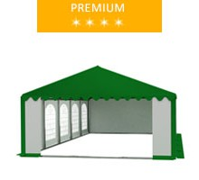 Party tent 5x10 m, PVC white-green with green roof, premium