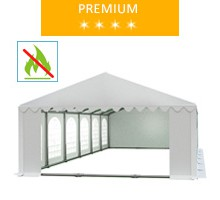 Party tent 6x12 m, white PVC, premium, fireproof