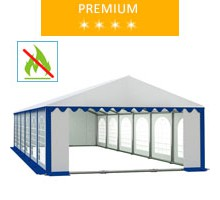 Party tent 6x12 m, white-blue PVC, premium, fireproof