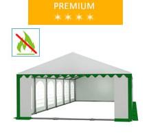 Party tent 6x12 m, white-green PVC, premium, fireproof