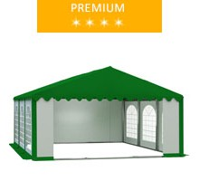 Party tent 5x6 m, PCV white-green with green roof, premium