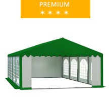 Party tent 5x8 m, PCV white-green with green roof, premium
