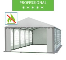 Party tent 5x10m, white-gray PVC, professional, fireproof