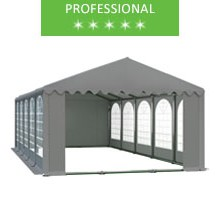 Party tent 5x10m, gray PVC, professional