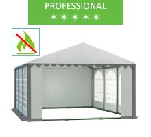 Party tent 5x6m, white-gray PVC, professional, fireproof