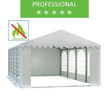 Party tent 6x8m, white PVC, professional, fireproof