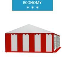 Party tent 6x12 m, white-red PVC, economy