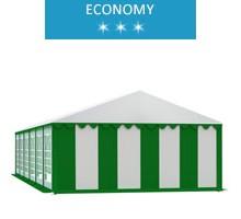 Party tent 6x12 m, white-green PVC, economy