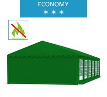 Party tent 6x12 m, green PVC, economy, fireproof