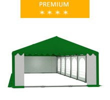 Party tent 6x12 m, PVC white-green with green roof, premium