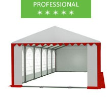 Party tent 6x12m, white-red PVC, professional