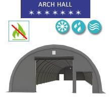 Hala łukowa 9.15x26m, PCV szary, Namiot o konstrukcji łukowej